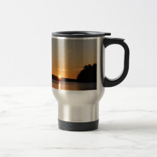 Winter Golden Sun Ray Reflects on Junior Lake Travel Mug