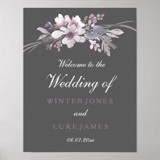 Winter Gray Floral Watercolor Wedding Poster