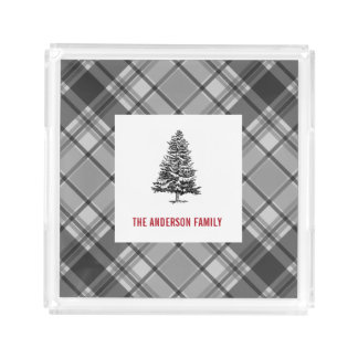 Winter Gray Plaid Spruce Tree Acrylic Tray
