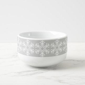 Winter Gray Snowflake Pattern unique Design Soup Mug