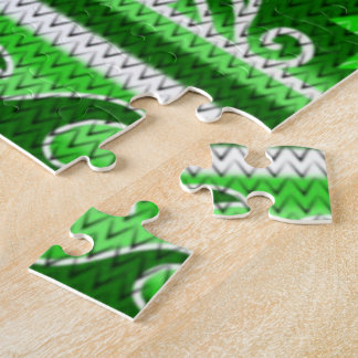 Winter Green Nordic Design Jigsaw Puzzle