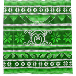 Winter Green Nordic Design Shower Curtain