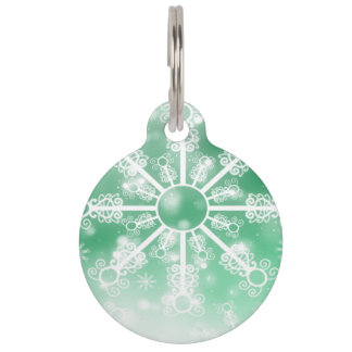 Winter Green Snowflake Pet Tag