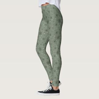 Winter Green Snowflakes Leggings