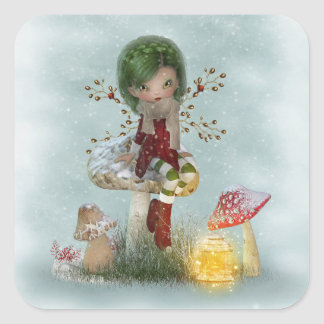 winter green square sticker