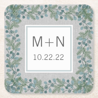Winter greenery wedding / bridal shower decor square paper coaster