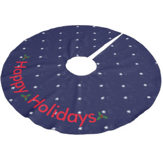 Winter-Happy Holiday Snowy Winter Night Brushed Polyester Tree Skirt