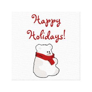 Winter Happy Holidays Polar Bear Cartoon Canvas Print