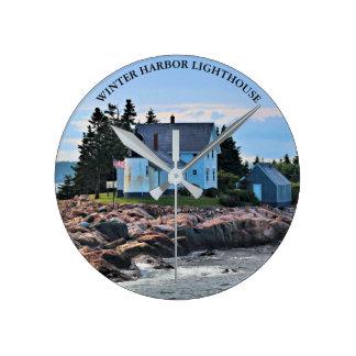 Winter Harbor Lighthouse, Maine Wall  Clock