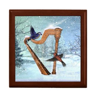 Winter harp trinket box