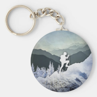 Winter Hike Basic Round Button Key Ring