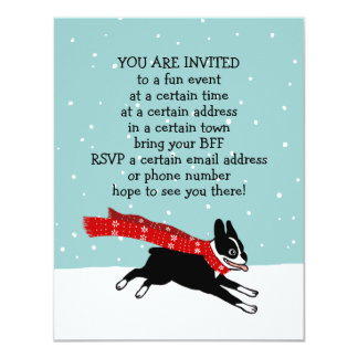 Winter Holiday Boston Terrier Party Announcements
