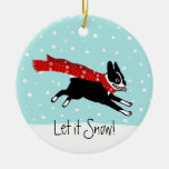 Winter Holiday Boston Terrier Wearing Red Scarf Christmas Ornaments