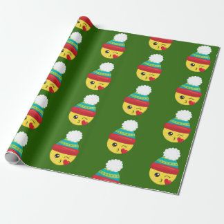 Winter Holiday Christmas Emoji Wrapping Paper