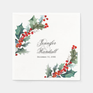Winter Holiday Greenery Watercolor Wedding Disposable Serviette