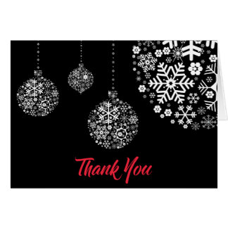 Winter Holiday Ornaments Thank You Note Card