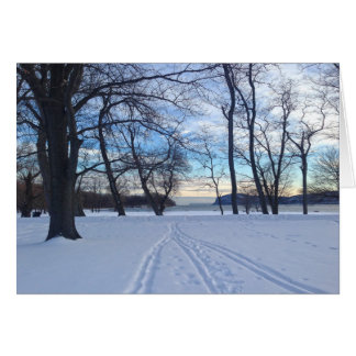 Winter Holiday Peace Snow Scene Card
