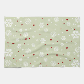 Winter Holiday Snowflakes Hearts on Green Hand Towels