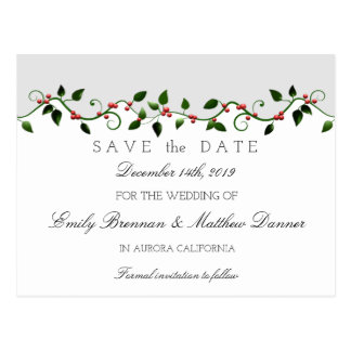 Winter Holiday Wedding Holly Berry Save the Date Postcard