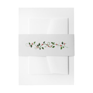 Winter Holiday Wedding Holly Vine Gray Matching Invitation Belly Band