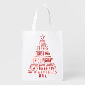 Winter Holidays Christmas Tree Snowflakes Poem Reusable Grocery Bag
