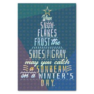 Winter Holidays Christmas Tree Snowflakes Poem Tissue Paper