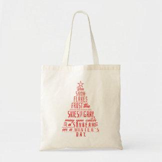 Winter Holidays Christmas Tree Snowflakes Poem Tote Bag