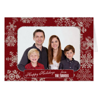 Winter Holidays Red Glitter Snowflakes Photo Card