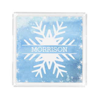 Winter Holidays Watercolor Snowflake Personalised Acrylic Tray