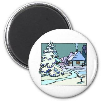Winter House 6 Cm Round Magnet