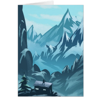 Winter House in Mountains Season's Greetings Card