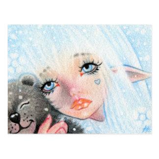 Winter Hugs Elve with Teddy bear postcard