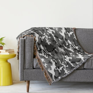 Winter Ice Camo Throw Blanket