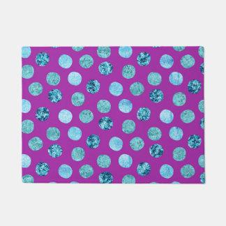 Winter Ice Polka Dots Purple Doormat