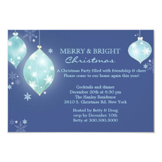 Winter Icy Blue Balls Christmas Party Card