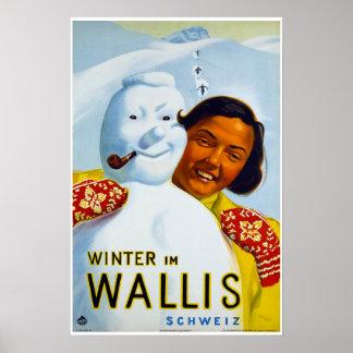 Winter im Wallis,Schweiz, Ski Poster