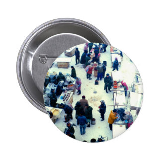 Winter in a Chinese market Pinback Button