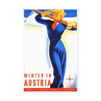 Winter in Austria Restored Vintage Travel Poster Canvas Print