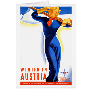 Winter in Austria Restored Vintage Travel Poster Card