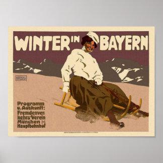 Winter In Bayern Travel Art Restored Vintage Poster