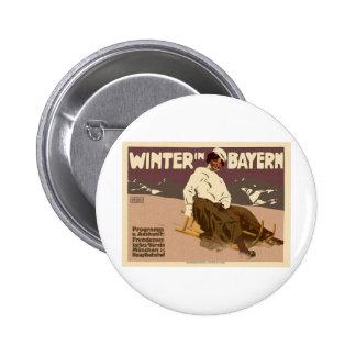 Winter In Bayern Vintage Pinback Button