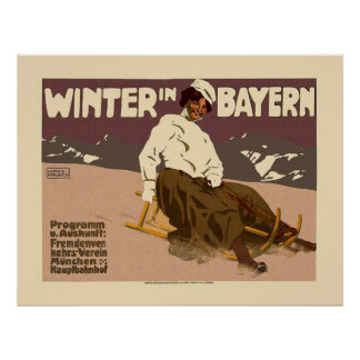 """Winter in Bayern"" Vintage Travel Poster"
