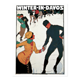 Winter in Davos Vintage Travel Poster Postcard