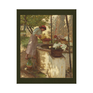 Winter in Italy Watering Flowers Gallery Wrapped Canvas