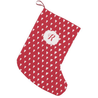 Winter in Love Christmas red with hearts monogram Small Christmas Stocking