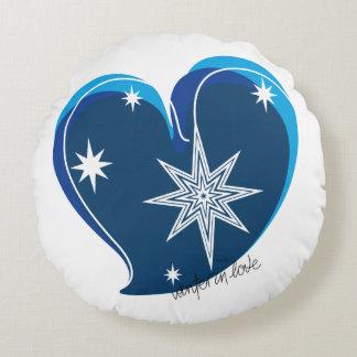 winter in love-Signature-Blue Round Cushion