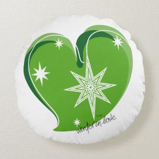 winter in love-Signature-Green Round Cushion