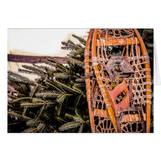 Winter in New England: Snowshoes & Evergreens Card