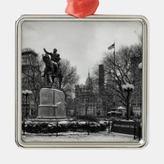 Winter in NYC's Union Square 001 Black White Metal Ornament