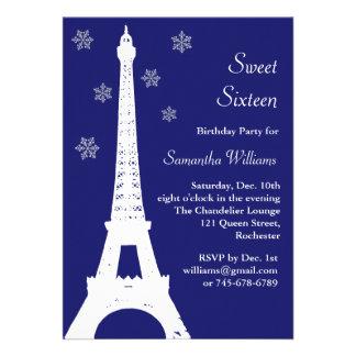 Winter in Paris Birthday Invite indigo